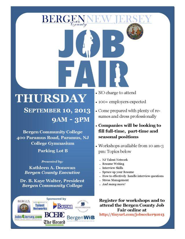 Bergen County Job Fair September 10 2013 Flyer