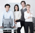 Business Team at Computer